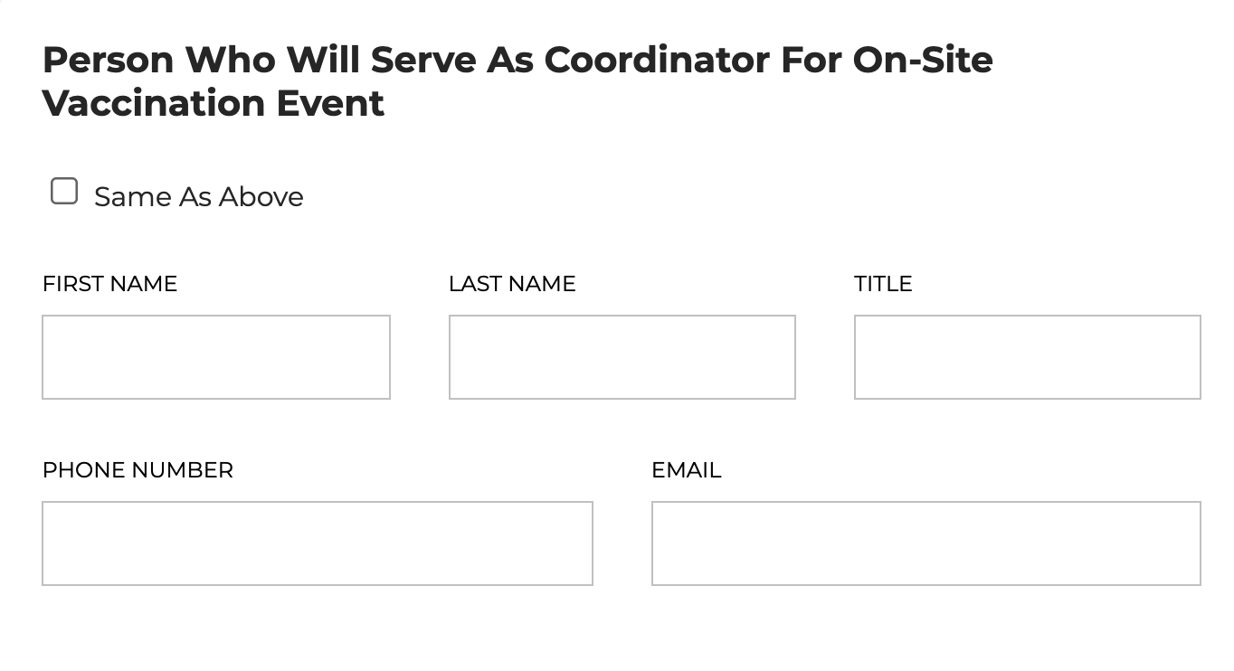 Person who will serve as event coordinator for on-site vaccination event