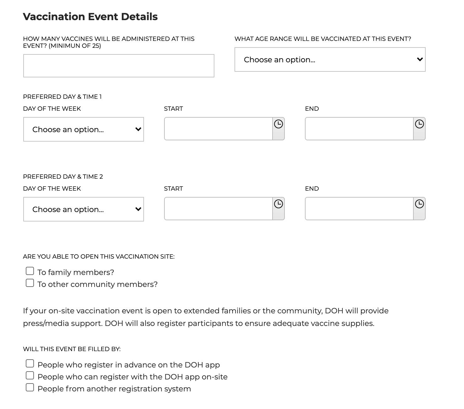 Vaccination event details