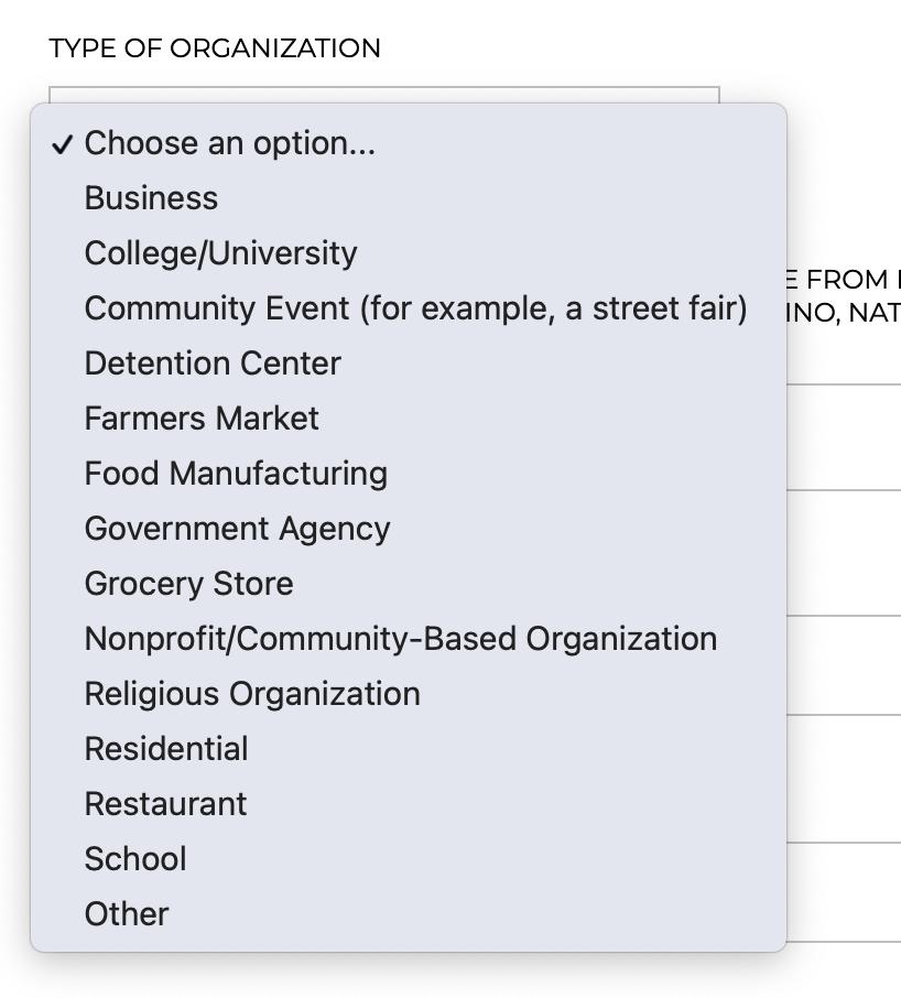 Organization type